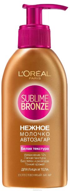 L'Oreal Paris Sublime Bronze молочко-автозагар для лица и тела