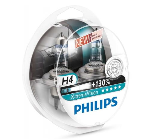 PHILIPS H4 X-treme Vision 3700K 12V 60/55W, 2 шт, 12342XV+S2