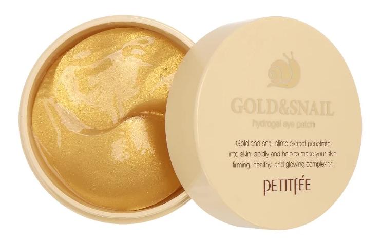 Petitfee Гидрогелевые патчи для век с золотыми частицами и фильтратом муцина улитки Gold {amp}amp; Snail hydrogel eye patch