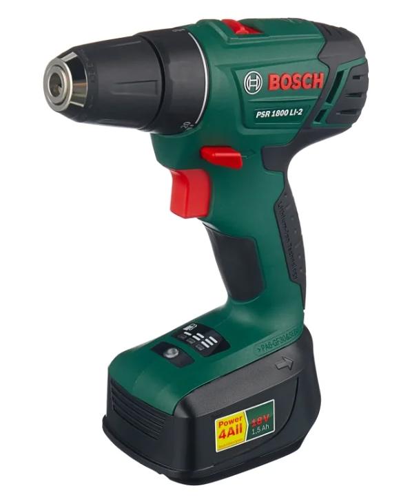 BOSCH PSR 1800 LI-2 1.5Ah x2 Case 38 Н•м